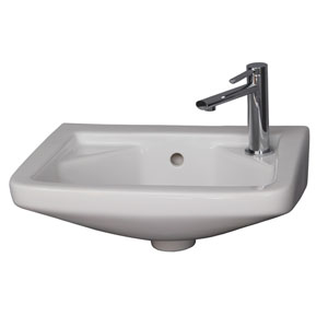 Mirna White Wall-Hung Basin with Faucet Hole on Right