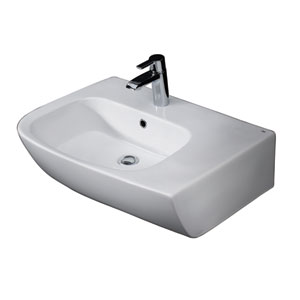 Elena White 25-Inch Above Counter Basin with Deck on Right