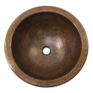 Large Antique Copper Self-Rimming Bathroom Sink