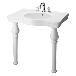 Milano White 8-Inch Spread Console Sink with Stand