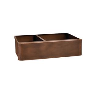 Otero Antique Copper 33-Inch Offset Double Bowl Farmer Sink