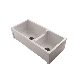 Millwood 36-Inch Double Bowl Fire Clay Farmer Sink, Bisque