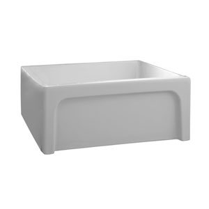 Carmon White 24-Inch Single Bowl Fire Clay Farmer Sink