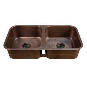 Severn Antique Copper 35-Inch Double Bowl Undermount Kitchen Sink