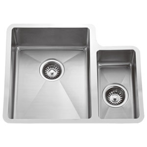 Fennel Stainless Steel 24-Inch 70/30 Offset Double Bowl Undermount Sink