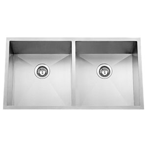 Lana Stainless Steel 37-Inch 50/50 Double Bowl Undermount Sink