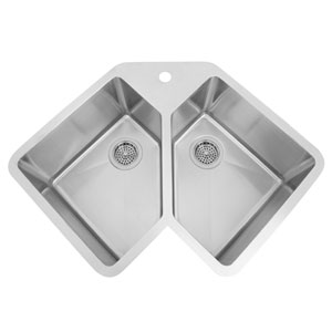 Montague Stainless Steel 33-Inch Double Bowl Corner Undermount Sink