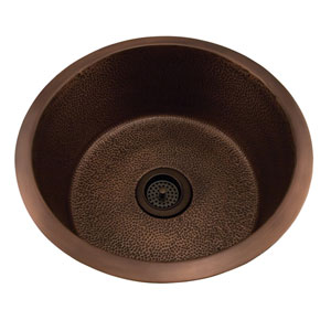 Wade Antique Copper 18-Inch Round Sink Flat Bottom