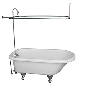 Polished Chrome Tub Kit 60-Inch Acrylic Roll Top, Shower Unit, Supplies, and Drain