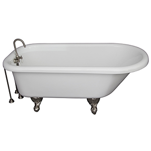 Brushed Nickel Tub Kit 67-Inch Acrylic Roll Top, Tub Filler, Supplies, and Drain