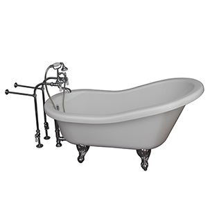 Polished Chrome Tub Kit 60-Inch Acrylic Slipper, Tub Filler, Supplies, and Drain