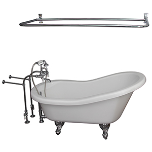 Polished Chrome Tub Kit 67-Inch Acrylic Slipper, Filler, Shwr Rod, Supplies, and Drain