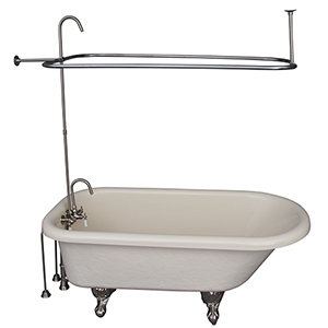 Brushed Nickel Tub Kit 60-Inch Acrylic Roll Top, Shower Unit, Supplies, and Drain