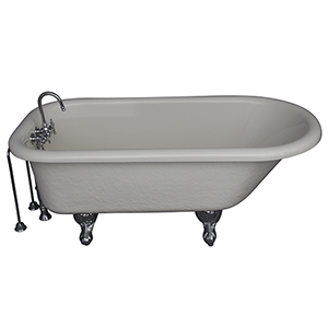 Polished Chrome Tub Kit 60-Inch Acrylic Roll Top, Tub Filler, Supplies, and Drain