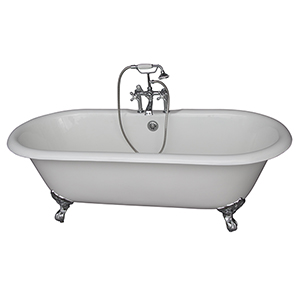 Polished Chrome Tub Kit 67-Inch Cast Iron Double Roll Top, Filler, Supplies, and Drain