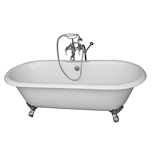 Polished Chrome Tub Kit 61-Inch, Cast Iron Double Roll Top, Filler, Supplies, and Drain