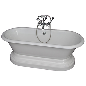 Polished Chrome Tub Kit 67-Inch Cast Iron Double Roll Top Base, Filler, Supplies, and Drain