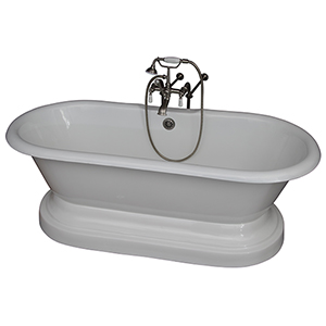 Brushed Nickel Tub Kit 67-Inch Cast Iron Double Roll Top Base, Filler, Supplies, and Drain