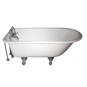 Polished Chrome Tub Kit 60-Inch Cast Iron Roll Top, Tub Filler, Supplies, and Drain