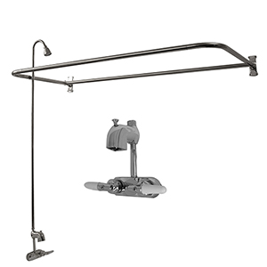 Polished Chrome Tub Kit 60-Inch Cast Iron Roll Top, Shower Unit, Supplies, and Drain