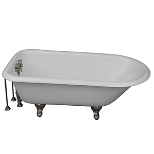 Brushed Nickel Tub Kit 60-Inch Cast Iron Roll Top, Shower Unit, Supplies, and Drain