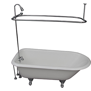 Polished Chrome Tub Kit 67-Inch Cast Iron Roll Top, Shower Unit, Supplies, and Drain