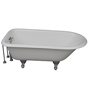 Polished Chrome Tub Kit 67-Inch Cast Iron Roll Top, Tub Filler, Supplies, and Drain