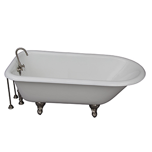 Brushed Nickel Tub Kit 67-Inch Cast Iron Roll Top, Tub Filler, Supplies, and Drain