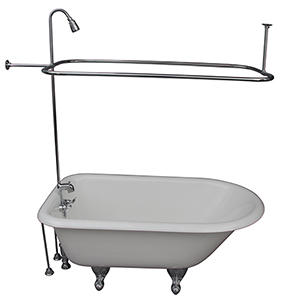 Polished Chrome Tub Kit 54-Inch Cast Iron Roll Top, Shower Unit, Supplies, and Drain