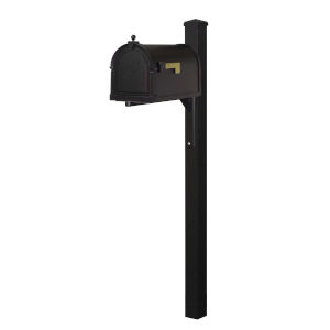 Berkshire Curbside Black Mailbox and Wellington Direct Burial Mailbox