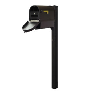 Berkshire Curbside Black Mailbox with Newspaper Tube, Locking Insert and Wellington Mailbox Post