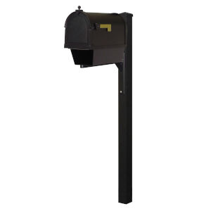 Berkshire Curbside Black Mailbox with Newspaper Tube and Wellington Mailbox Post