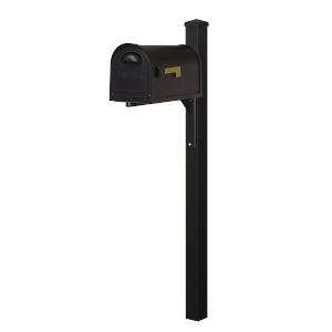 Classic Curbside Mailbox Black Mailbox and Wellington Direct Burial Mailbox Post Smooth