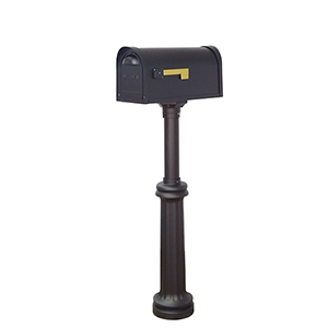 Classic Curbside Two Door Mailbox and Bradford Mailbox Post in Black