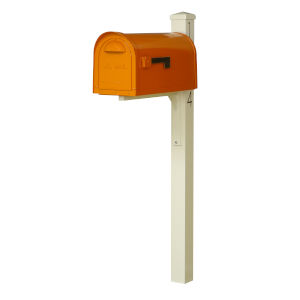 Dylan Orange Curbside Mailbox and Post