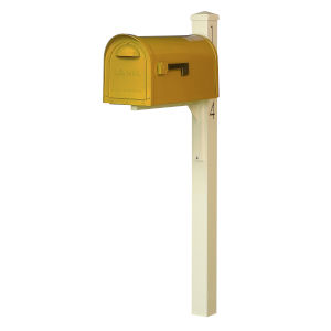 Dylan Yellow Curbside Mailbox and Post