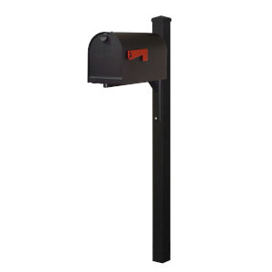 Titan Steel Curbside Black Mailbox and Wellington Mailbox Post