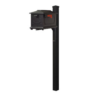 Kingston Curbside Black Mailbox and Wellington Direct Burial Mailbox Post Smooth Square