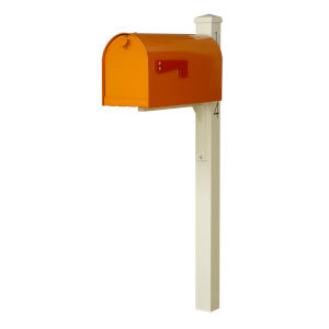 Rigby Orange Curbside Mailbox and Post