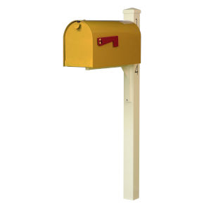 Rigby Yellow Curbside Mailbox and Post