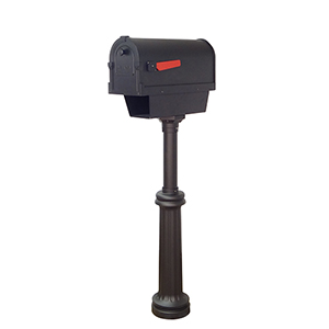 Savannah Curbside Mailbox with Paper Tube and Bradford Mailbox Post in Black