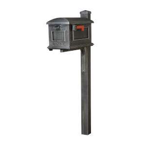 Curbside Swedish Silver Mailbox with Wellington Mailbox Post