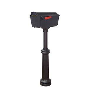 Town Square Curbside Mailbox and Bradford Mailbox Post in Black