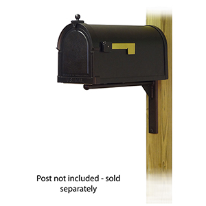 Curbside Black Berkshire Mailbox with Ashely Front Single Mounting Bracket