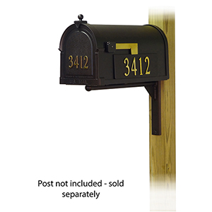 Curbside Black Mailbox with Front and Side Address Number and Ashley Front Single Mounting Bracket