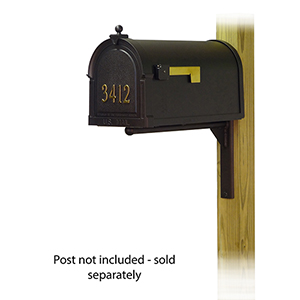 Curbside Black Nine-Inch Berkshire Mailbox with Front Address Number and Ashley Front Single Mounting Bracket