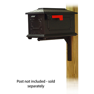 Curbside Black Kingston Mailbox with Ashley Front Single Mounting Bracket