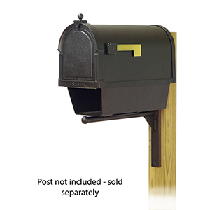 Curbside Black Berkshire Mailbox with Newspaper Tube and Ashely Front Single Mounting Bracket
