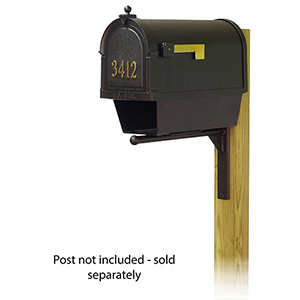 Curbside Black Nine-Inch Mailbox with Front Address Number and Ashley Front Single Mounting Bracket