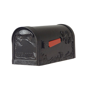 Curbside Black Nine-Inch Hummingbird Mailbox with Baldwin Front Single Mounting Bracket